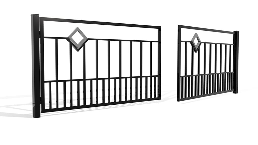 Palisada pionowa 69A - brama dwuskrzydłowa